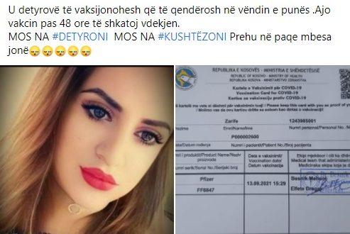 Një femër 23 vjeçare, në Drenas, ka ndërruar jetë tri ditë pasi ka marrë dozën e parë të vaksinës kundër coronavirusit