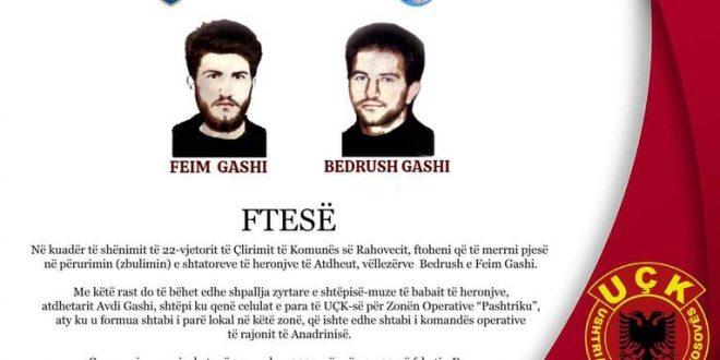 Më 14 qershor 2021 në Drenoc të Rahovecit bëhet zbulimi i heronjve të atdheut, vëllezërve Bedrush dhe Feim Gashi