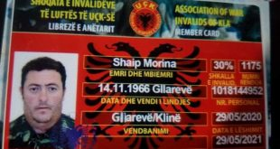 Ndahet nga jeta veterani dhe invalidi i luftës së UÇK-së Shaip Morina nga Gllareva e Klinës