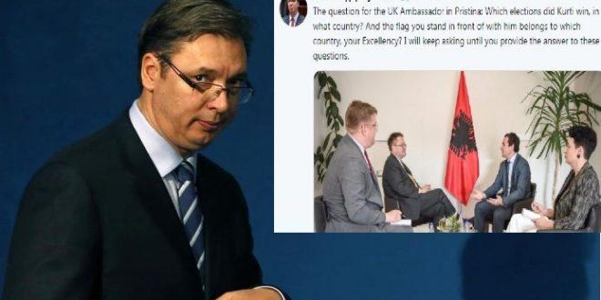 Kryetarin serb Aleksandar Vuçiq e pengon prezenca e flamurit kombëtar shqiptar në takimin Kurti -Abbott