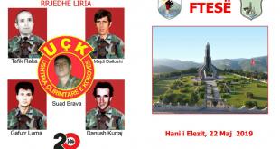 Me 22 maj 2019 përkujtohen dëshmorët Tefik Raka, Mejdi Dalloshi, Suad Brava, Gafurr Luma dhe Danush Kurtaj