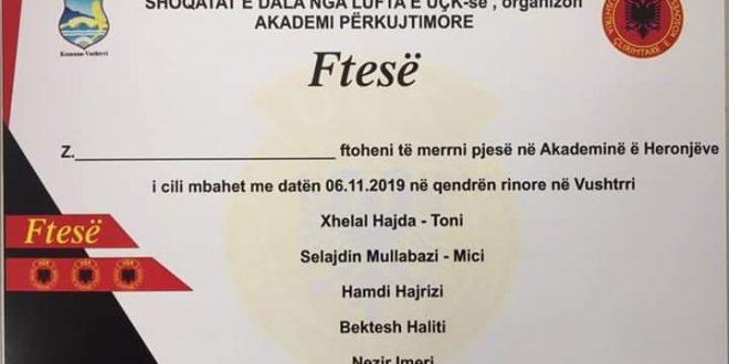 Nesër mbahet Akademi në nderim të heronjve të kombit Xhelal Hajda, Selajdin Mullabazi, Hamdi Hajrizi, Bektesh Haliti dhe Nezir Imeri