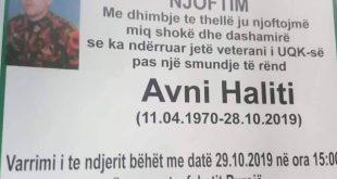 Ndahet nga jeta veterani iUshtrisë Çlirimtare të Kosovës, Avni Haliti nga Buroja