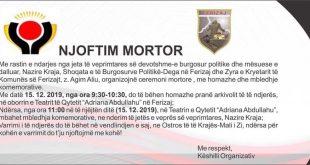 Shoqata e të Burgosurve Politikë në Ferizaj organizon mbanë mbledhja komemorative pas ndarjes nga jeta të mësueses Nazire Kraja