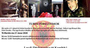 Më 21 janar 2020 përkujtohen dëshmorët e kombit Skender Rexhepi dhe Fitim Duraku në 21-vjetorin e rëniës heroike