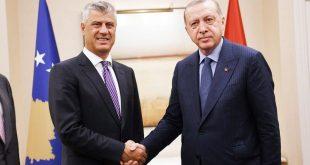 Kryetari Thaçi e falënderon kryetarin Erdogan dhe popullin turk për ndihmën e ofruar Kosovës në këtë kohë të vështirë