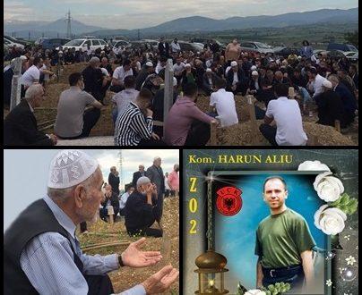 Nëna e Harun Aliut, Minevere Arif Aliu, u varros me nderime kombëtare e fetare, në Hasanbeg të Shkupit