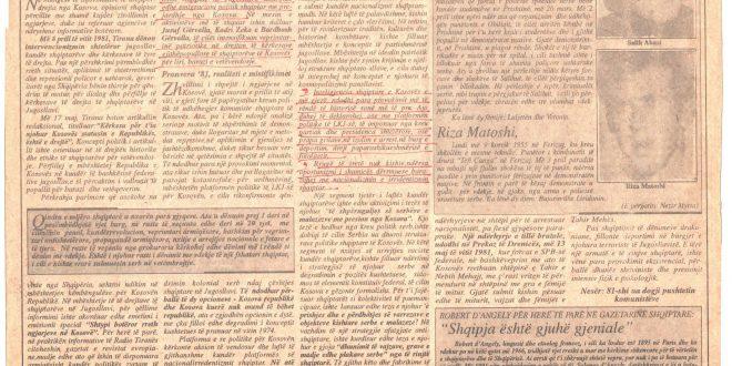 """Fejtoni i botuar në gazetën e përditshme, """"Bujku"""", në 15-vjetorin e revoltave dhe demonstratave të vitit 1981 III"""