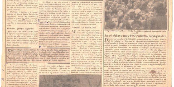 """Fjetoni i botuar në gazetën """"Bujku"""" në 15-vjetorin e revoltave dhe demonstratave të vitit 1981 I"""