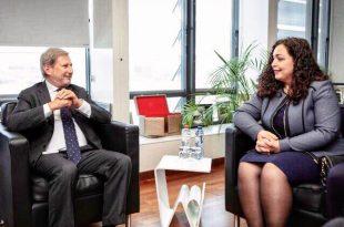 Hahn e takon Osmanin diskuton për prioritetet si integrimi në Bashkimin Evropian dhe liberalizimin e vizave