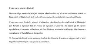 Ministri Demolli ngushëllon ministren shqiptare të Mbrojtjes zonjën Kodheli