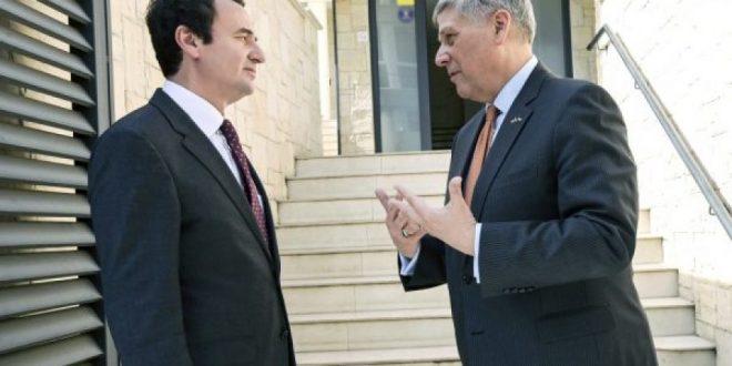 Ambasadori amerikan, Philip Kosnett takohet me kryetarin e Vetëvendosjes, Albin Kurti, por nuk deklarohen pas takimit