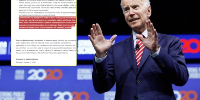 """Organizata """"Albanians for Trump"""" kërkon nga shqiptarët që mos ta votojnë Biden, i kërkoj falje Serbisë për për bombardimet e NATO-s"""