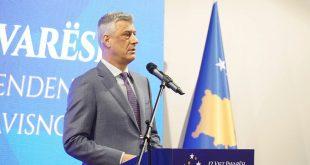"""Kryetari, Hashim Thaçi, ka mbajtur një fjalim në kazermën """"Adem Jashari"""" në Prishtinë, në 12-vjetorin e Pavarësisë"""