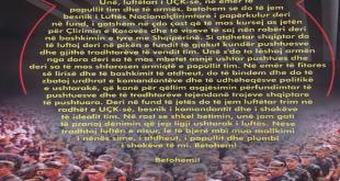Një Shqipëri e bashkuar ishte ëndrra e të gjithë dëshmorëve të kombit dje - është aspiratë e të gjithë shqiptarëve sot Ushtria Çlirimtare e Kosovës