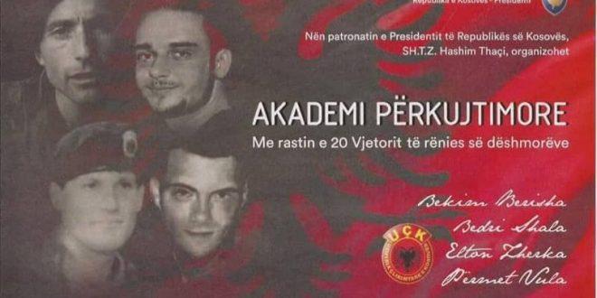 Nesër mbahet akademi përkujtimore për dëshmoret e kombit Bekim Berisha, Bedri Shala, Elton Zhegra dhe Permet Vula