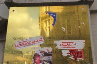 Në Kopenhagë është sulmuar dhe dëmtuar Konsullata e Kosovës dhe se është dëmtuar stema e shtetit
