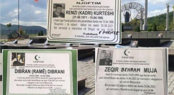 Sot rivarrosen trupat e Dibran Dibranit, Zeqir dhe Magbule Mujës si dhe Remzi Kurteshit, të vrarë gjatë luftës nga serbët