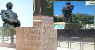 Shtatorja e Ahmet Zogu, në Tiranë, e vendosur në vitin 2012 nga Sali Berisha, është mbushur me shkrime kundër tij
