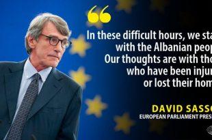 David Sassoli thotë se Evropa është gati të ndihmojë në rikonstruksionin e dëmeve që shkaktuan tërmetet