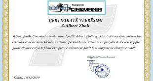"""Shtëpia fimike """"Cinemania Production"""" shpall z. Albert Zholi gazetar të vitit"""