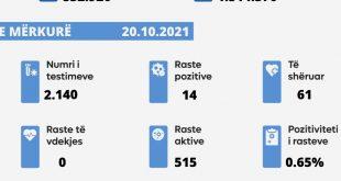 Në 24 orët e fundit nuk ka vdekur asnjë i sëmurë nga virusi korona, u konfirmuan 14 raste të reja, u shëruan 61 të infektuar