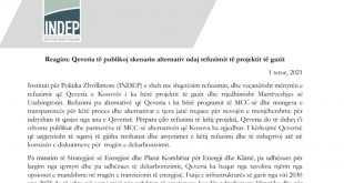INDEP reagimin kundër vendimit të Qeverisë për refuzimin e projektit të gazit dhe Marrëveshjes së Uashingtonit