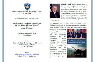 """Më 20 Shkurt 2018 përurohet libri: """"Pajtuesit: Udhëheqja Amerikane dhe Fundi i Gjenocidit në Ballkan, shkruar nga James W. Pardew"""