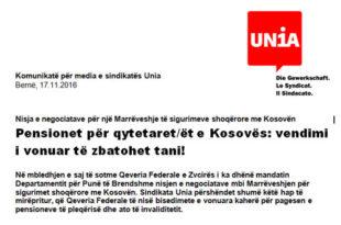 Osman Osmani: Komunikatë për media e sindikatës Unia lidhur me pensionet për qytetarët e Kosovës