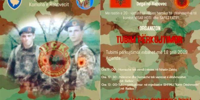 Të enjten në Ratkoc të Rahovecit mbahet tubim përkujtimor në nderim të dëshmorëve të kombit Visar Hoti dhe Safet Latifi