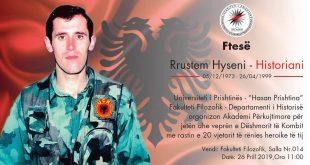 Mbahet Akademi përkujtimore për jetën dhe veprën e dëshmorit të kombit, Rrustem Hyseni