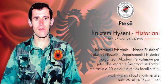 Të premten mbahet Akademi përkujtimore për jetën dhe veprën e dëshmorit të kombit, Rrustem Hyseni
