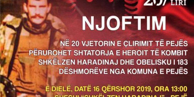 Sot në Pejë përurohet shtatorja e heroit Shkëlzen Haradinaj dhe Obelisku i 183 dëshmorëve të tjerë të kombit