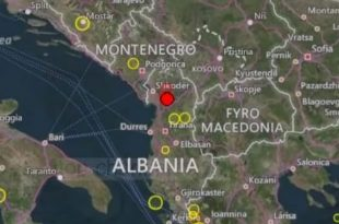 Një tjetër tërmet është shënuar të dielën në Shqipëri me magnitudë 4 ballë ne epiqendër 25km në veriperëndim të Tiranës