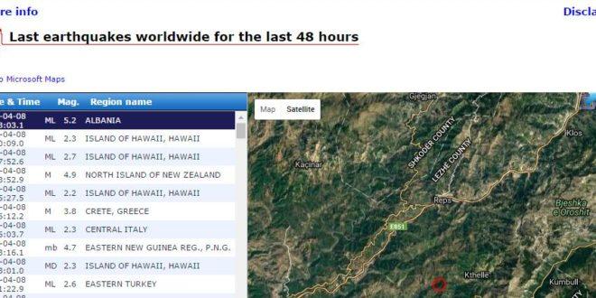 Sot rreth orës 16.00 janë shënuar dridhje të tokës në Shqipëri dhe në Kosovë