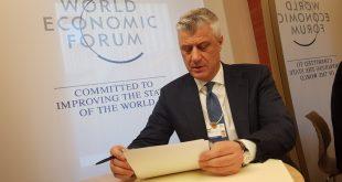 Thaçi: Në Davos do të shprehë edhe një herë synimet e Kosovës për një perspektivë të qartë të integruese