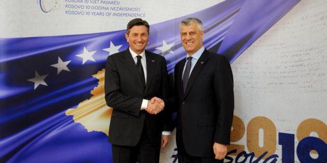 Kryetari Thaçi: Borut Pahor e ka mbështetur pavarësinë, shtetndërtimin dhe perspektivën evropiane të Kosovës