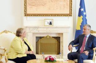 Kryetari Thaçi bisedoi me shefen e re të EULEX-it në Kosovë, Aleksandra Papadopulu
