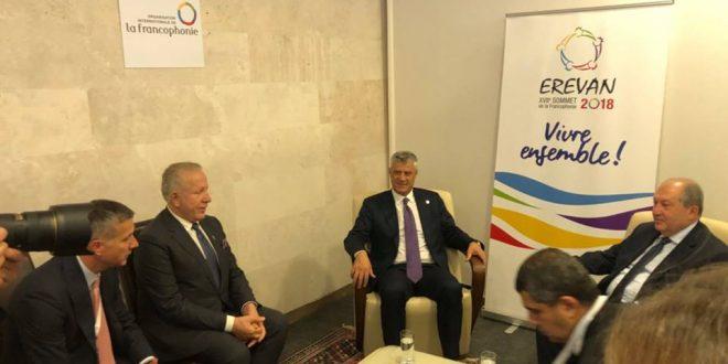 Kryetari, Thaçi dhe ministri i jashtëm, Behxhet Pacolli janë takuar me kryetarin e Armenisë, Armen Sarkissian