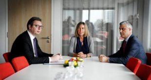 Takimi mes delegacioneve të Kosovës dhe Serbisë përfundoi në Bruksel pas tri orë bisedimesh të drejtpërdrejta